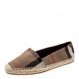 Burberry Brown Checkered Canvas Hodgeson Flat Espadrilles Size 38 209470