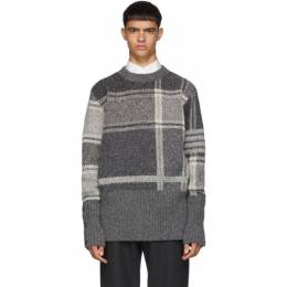 Thom Browne Grey Plaid Oversized Crewneck Pullover 192381M20103101GB