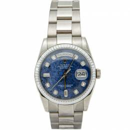 Rolex Blue Lapis Stone Dial Full White Gold Day Date Diamond Dial Men's Watch 36MM 210407
