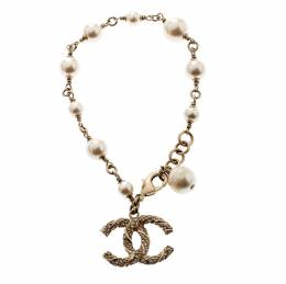 Chanel CC Crystal Faux Pearl Charm Bracelet 209792