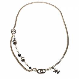 Chanel CC Bead Faux Pearl Gold Tone Chain Link Necklace / Belt 209253