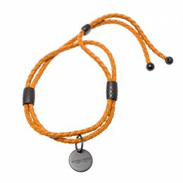 Bottega Veneta Intrecciato Orange Woven Leather Adjustable Double Strand Bracelet 208695