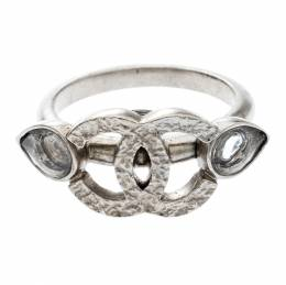 Chanel CC Crystal Silver Tone Ring Size 52.5 208996