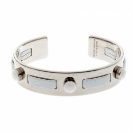 Tod's White Leather Gold Tone Open Cuff Bracelet 209613