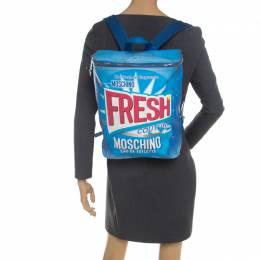 Moschino Blue PVC Fresh Couture Print Backpack 208951