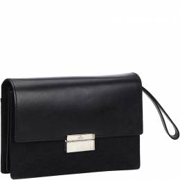 Gucci Black GG Canvas and Leather Clutch 206316