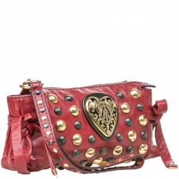 Gucci Red Leather Studded Babouska Hysteria Clutch 206058