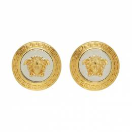 Versace Gold and Silver Large Icon Medusa Earrings 192404F02202401GB