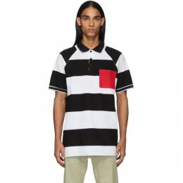 Burberry Black and White Oversized Rugby Stripe Polo 192376M21200202GB