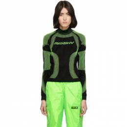 Misbhv SSENSE Exclusive Black and Green Active Turtleneck 192937F09901804GB