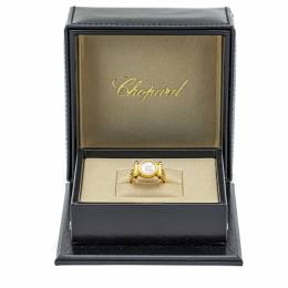 Chopard 18K Yellow Gold Happy Diamond& Ruby And Circle Design Special Edition Ring Size 52 210679