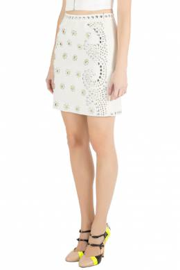 Moschino Cheap and Chic Cream Crepe Beaded Floral Pattern Skirt S 209861
