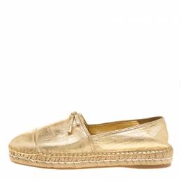 Prada Metallic Gold Leather Bow Detail Espadrilles Size 37.5 142090