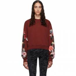 Off-White Red Cropped Flowers Sweatshirt 192607F09801902GB
