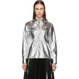MSGM Silver Faux-Leather Button Down Shirt 192443F10900103GB