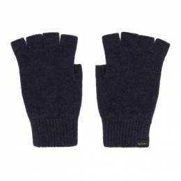 Paul Smith Navy Wool Fingerless Gloves 192260M13501001GB