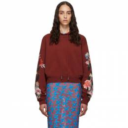Off-White Red Cropped Flowers Hoodie 192607F09708001GB