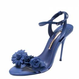 Sophia Webster Blue Leather Lilico Ankle Strap Sandals Size 39.5 209731