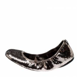 Gucci Metallic Grey Sequins Embellished Leather Scrunch Ballet Flats Size 38 210773