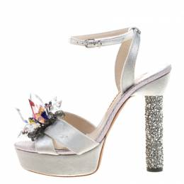 Sophia Webster Grey Velvet And Coarse Glitter Glacia Crystal Embellished Platform Sandals Size 38 210310