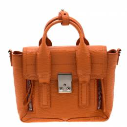 3.1 Phillip Lim Orange Leather Mini Pashli Top Handle Bag 209851