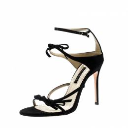 Carolina Herrera Black Suede Bow Detail Strappy Open Toe Sandals Size 38 210886