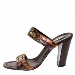 Prada Multicolor Python Leather Strappy Sandals Size 39 208941