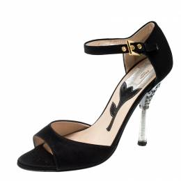 Prada Black Satin Crystal Embellished Heel Ankle Strap Open Toe Sandals Size 36.5 208942