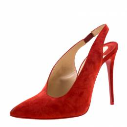 Christian Louboutin Red Suede Rivafish Pointed Toe Slingback Sandals Size 37 210235