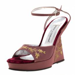 Dolce & Gabbana Pink And Metallic Gold Embroidered Fabric Wedge Platform Sandals Size 37 Dolce & Gabbana 209447