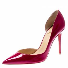 Christian Louboutin Grenadine Patent Leather Iriza D'orsay Pointed Toe Pumps Size 38.5 210141
