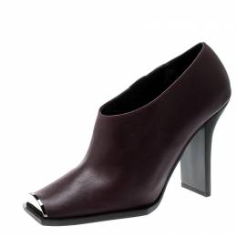 Stella McCartney Burgundy Faux Leather Square Toe Ankle Boots Size 38 210323