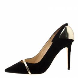 Jimmy Choo Black Suede And Metallic Gold Leather Cut Out Detail Pointed Toe Pumps Size 39 211051