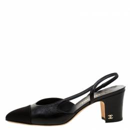 Chanel Black Leather/Satin Classic Slingback Sandals Size 38.5 209388