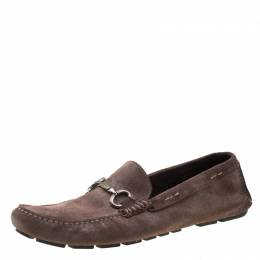 Dolce & Gabbana Brown Antique Finish Suede Slip On Loafers Size 44 209424