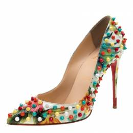 Christian Louboutin Multicolor Floral Crackled Leather Hawaiian Follies Spike Embellished Pointed Toe Pumps Size 37.5 210452
