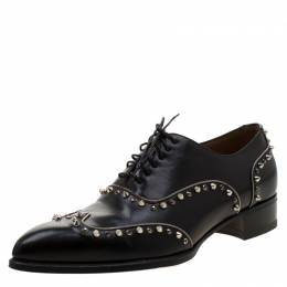 Christian Louboutin Black Leather Spike And Crystal Trim Wing Tip Lace Up Oxfords Size 42 210450