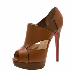 Christian Louboutin Brown Leather Platform Pumps Size 38 210451