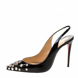 Christian Louboutin Black Patent Leather Drama Studded Slingback Sandals Size 35.5 208916