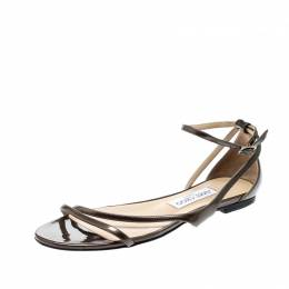 Jimmy Choo Brown Patent Leather Tabitha Ankle Strap Flat Sandals Size 37 209770