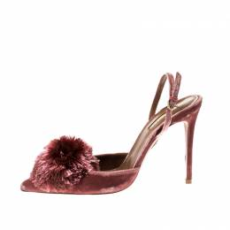 Aquazzura Pink Velvet Powder Puff Pointed Toe Slingback Sandals Size 39 210841
