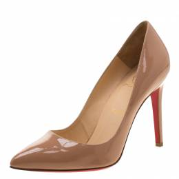 Christian Louboutin Beige Patent Leather Pigalle Pointed Toe Pumps Size 38.5 210442