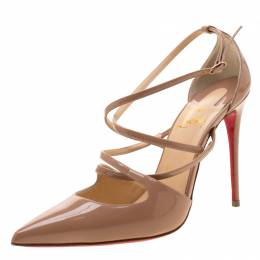 Christian Louboutin Beige Patent Leather Crossfliketa Sandals Size 37.5 210446
