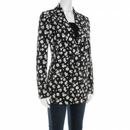 Dolce & Gabbana Black and White Floral Printed Crepe Tailored Blazer S 210610