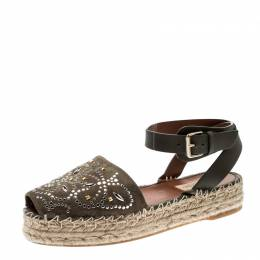 Valentino Army Green Embellished Suede and Leather Ankle Strap Espadrilles Size 38 210507