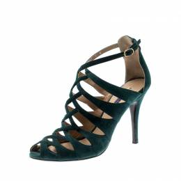 Ralph Lauren Green Suede Cage Open Toe Ankle Strap Sandals Size 39 210475