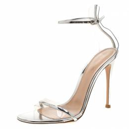 Gianvito Rossi Metallic Silver Leather And PVC Natalie Ankle Strap Sandals Size 39 210274
