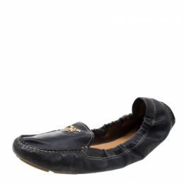 Prada Dark Blue Leather Scrunch Moccasins Size 41 208936