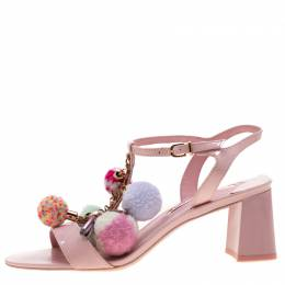 Sophia Webster Pink Patent Leather Juno Pom Pom Embellished T-Strap Sandals Size 38.5 209215