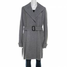 Burberry Grey Cashmere Belted Wrap Mid Length Coat L 210466